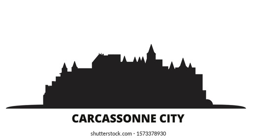 France, Carcassonne City city skyline isolated vector illustration. France, Carcassonne City travel black cityscape