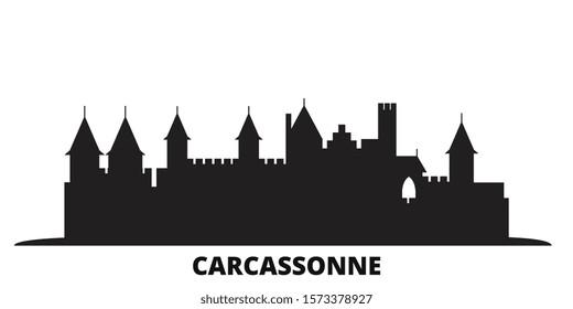 France, Carcassonne Landmark city skyline isolated vector illustration. France, Carcassonne Landmark travel black cityscape