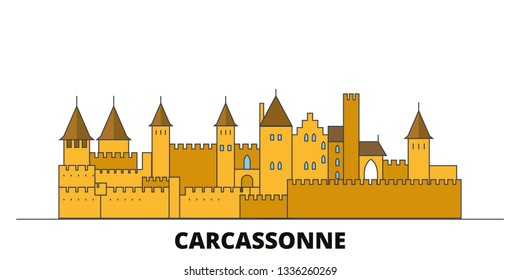 France, Carcassonne Landmark flat landmarks vector illustration. France, Carcassonne Landmark line city with famous travel sights, skyline, design.