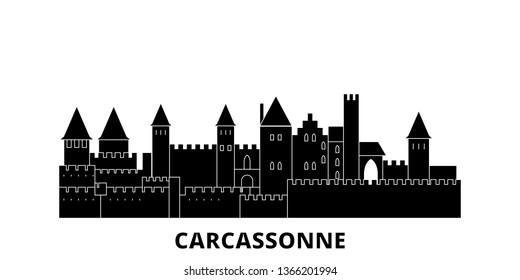France, Carcassonne Landmark flat travel skyline set. France, Carcassonne Landmark black city vector illustration, symbol, travel sights, landmarks.