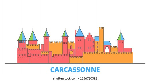 France, Carcassonne Landmark line cityscape, flat vector. Travel city landmark, oultine illustration, line world icons
