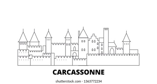 France, Carcassonne Landmark line travel skyline set. France, Carcassonne Landmark outline city vector illustration, symbol, travel sights, landmarks.