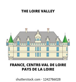 France, Centre-Val De Loire, Pays De La Loire - The Loire Valley Between, Sully-Sur-Loire And Chalon line travel landmark, skyline vector design