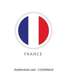 France Circle Flag Vector Template Design Illustrator