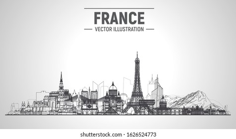 France cities ( Paris, Mont Blanc, Chambord, Mont Saint-Michel and other) line skyline vector illustration at white background. Business travel and tourism concept with famous France landmarks.