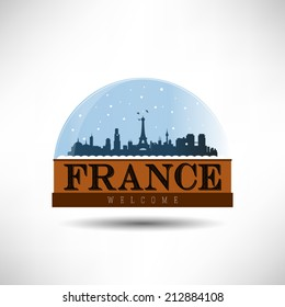 France, city skyline silhouette in snow globe. Vector design.