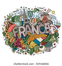 France country hand lettering and doodles elements and symbols background. Vector hand drawn illustration