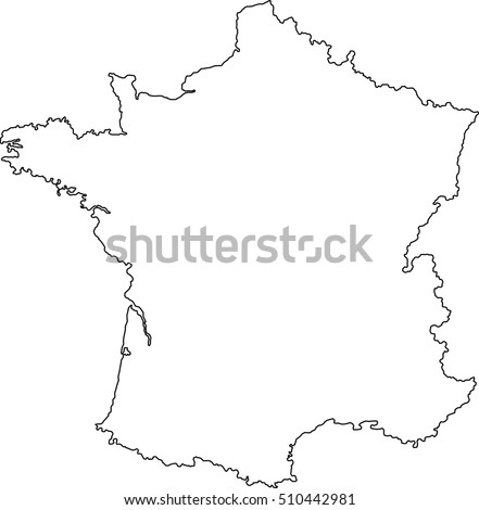 France Country Map Outline Graphic Vector Stock Vector Royalty Free