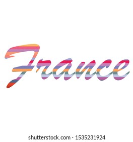 France country word colorful line design vector