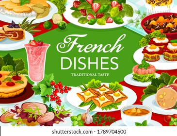 France cuisine vector dob beef and pork ham, cabbage stuffed with meat, quiche with tomatoes. Sandwich croc madame, potato caserrole and salmon tartare or duck salad. French meals, food dishes poster