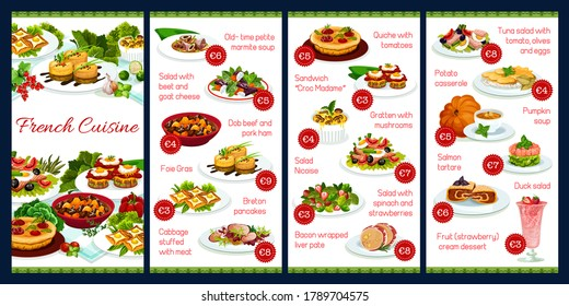 France cuisine vector menu template, French meals, dob beef and pork ham, foie grass, cabbage stuffed with meat, quiche with tomatoes, sandwich croc madame, gratten with mushrooms, food dishes menu