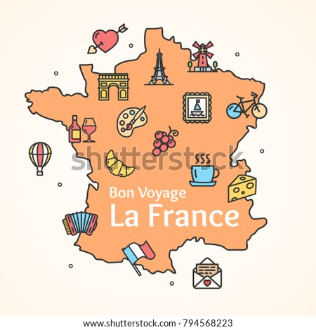 France design template line icon welcome concept vector image.