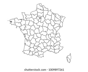 france Departments outline map. detailed isolated vector country border contour map on white background.