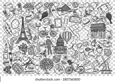 France doodle set. Collection of hand drawn sketches templates of french culture architecture and national cuisine transparent background. European country of franks tratidions illustration.