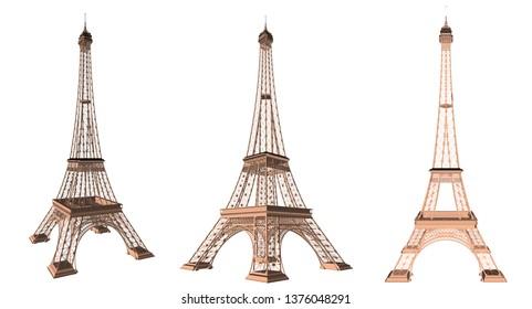 France Eiffel Tower 3d vector