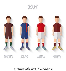 France EURO 2016 Championship Infographic Qualified Soccer Players GROUP F. Football Game Flat People Icon.Soccer / Football team players. Group F - Portugal, Iceland, Austria, Hungary. Vector.