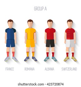France EURO 2016 Championship Infographic Qualified Soccer Players GROUP A. Football Game Flat People Icon.Soccer / Football team players. Group A - France, Romania, Albania, Switzerland. Vector.