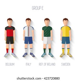 France EURO 2016 Championship Infographic Qualified Soccer Players GROUP E. Football Game Flat People Icon.Soccer / Football team players. Group E - Belgium, Italy, Republic of Ireland, Sweden. Vector