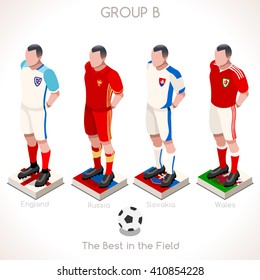 France EURO 2016.Soccer Group B Player Athletes.Vector France 2016 Match. EURO Championship Football Game.Soccer International Match Illustration. Soccer European Cup 2016 Group B Player Isometric