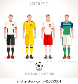 France EURO 2016.Soccer Group C Player Athletes.Vector France 2016 Match. EURO Championship Football Game.Soccer International Match Illustration. Soccer European Cup 2016 Group C Player