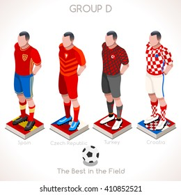 France EURO 2016.Soccer Group D Player Athletes.Vector France 2016 Match. EURO Championship Football Game.Soccer International Match Illustration. Soccer European Cup 2016 Group D Player Isometric