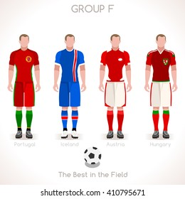 France EURO 2016.Soccer Group F Player Athletes.Vector France 2016 Match. EURO Championship Football Game.Soccer International Match Illustration. Soccer European Cup 2016 Group F Player