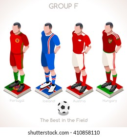 France EURO 2016.Soccer Group F Player Athletes.Vector France 2016 Match. EURO Championship Football Game.Soccer International Match Illustration. Soccer European Cup 2016 Group F Player Isometric