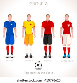 France EURO 2016.Soccer Group A Player Athletes.Vector France 2016 Match. EURO Championship Football Game.Soccer International Match Illustration. Soccer European Cup 2016 Group A Player