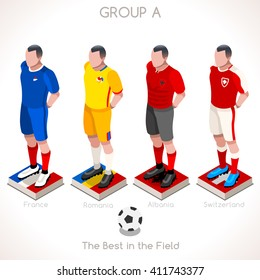 France EURO 2016.Soccer Group A Player Athletes.Vector France 2016 Match. EURO Championship Football Game.Soccer International Match Illustration. Soccer European Cup 2016 Group A Player Isometric
