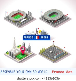 France euro Stadium Soccer arena Icon. Paris Saint Denis Stade.  Flat 3D Vector City Map Isometric Infographic android video Game. Soccer cartoon Building Football Stadium Set Collection Illustration