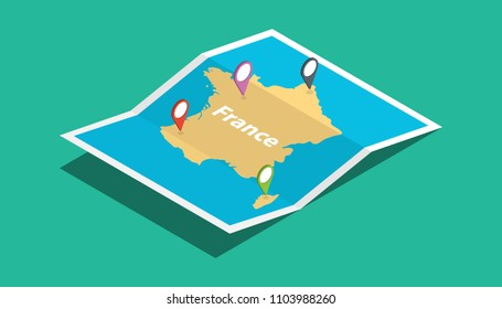 france explore maps with isometric style and pin location tag on top vector illustration
