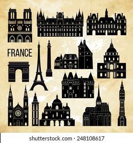 France famous landmark. Detailed vector illustration