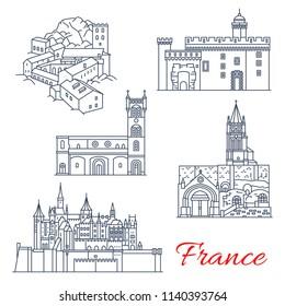 France famous travel landmark buildings line icons. Vector set of Saint-Martin Abbey in Tours, Carcassonne and Saint-Emilion Monolithic Church and Palais des Rois de Majorque or Majorca Kings Palace