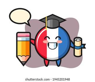 France flag badge illustration cartoon is graduation with a giant pencil