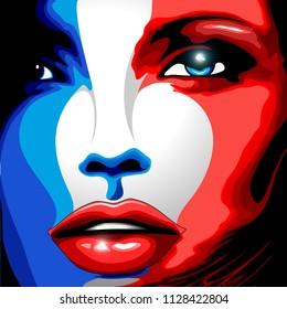 France Flag Beautiful Girl Portrait