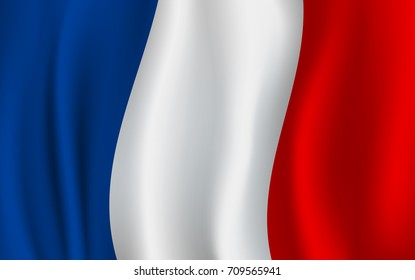France flag of blue, white and red vertical color stripes. Vector French republic country official national flag waving with curved fabric or waves texture