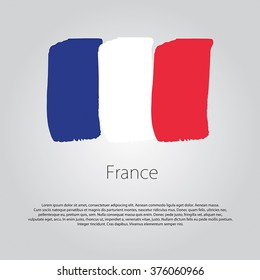 France Flag with colored hand drawn lines in Vector Format