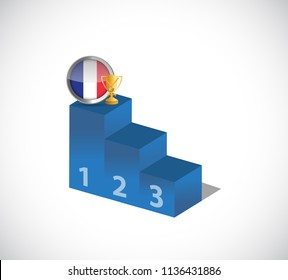 France flag and gold trophy on top of the leader podium. illustration design graphic over white background.