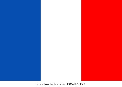 France flag. Icon of french. Button for national symbol. Glossy badge of country of France. Paris sticker and emblem. Official backdrop. Color design sign for geography, government and travel. Vector.
