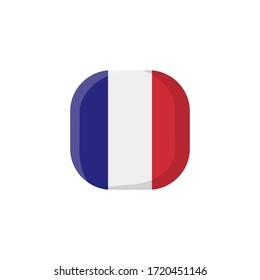 France Flag Icon , National Flag Square Symbol .