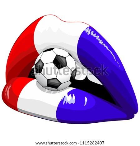 France Flag Lipstick Soccer Supporters on Sensual Woman's Lips