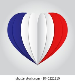 France flag paper cut heart. Independence Day. Love of country. Use for brochures, printed materials, logos, signs, elements, etc. Vector icon.