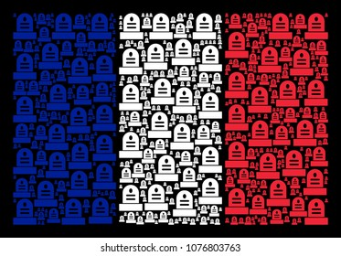 France Flag pattern constructed of grave elements. Vector grave objects are composed into geometric French flag collage on a black background.