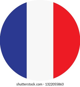 France flag. Simple vector round France  flag