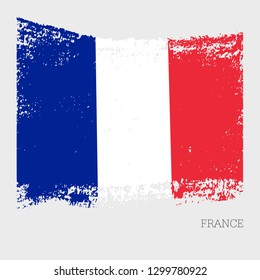 France flag vector icon in brushstroke texture on light grey background  with the name of the 7e8e91ba62fb