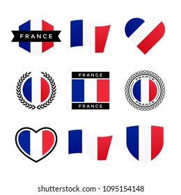 France flag vector icons and logo design elements with the French flag