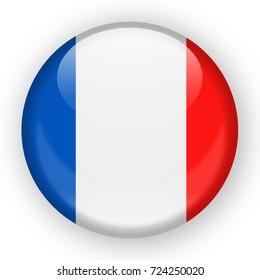 France Flag Vector Round Icon - Illustration