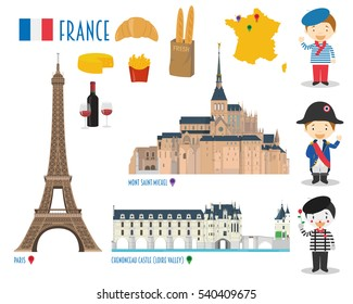 France Flat Icon Set Travel and tourism concept. Vector illustration