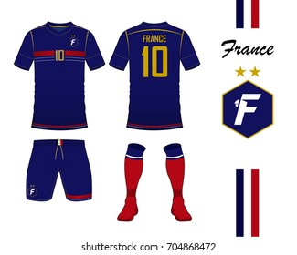 France football national team in Euro Championship concept. Soccer jersey  or football kit template. a8bc09987