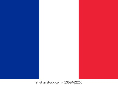 France or French Republic FR official national flag sign icon flat vector